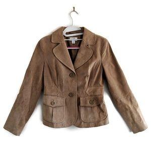 LOFT Tan Suede Leather 2 Button Blazer 0 FLAW